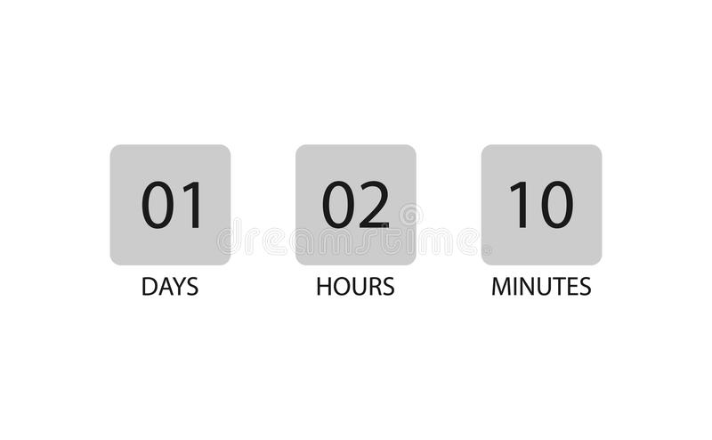 Cronometre dias, horas e minutos da contagem para baixo ilustração do vetor