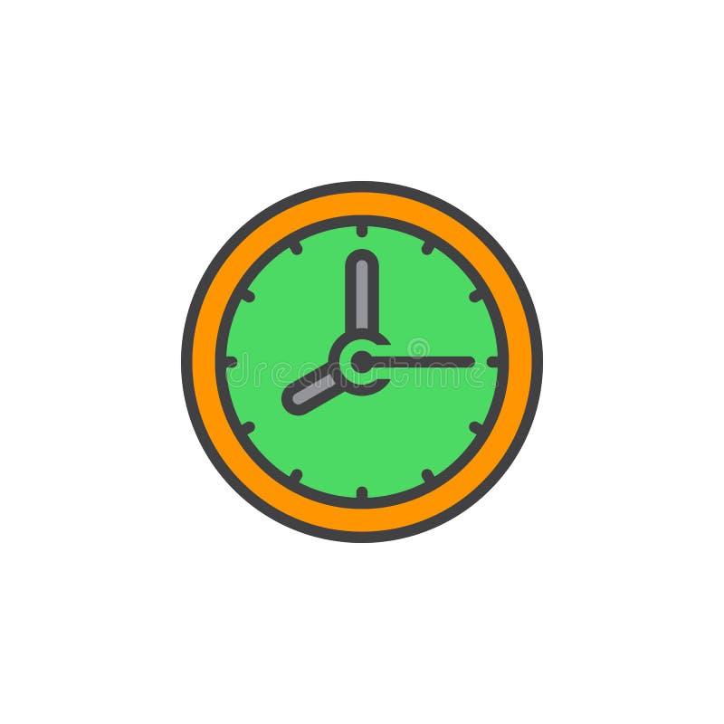 Cronometre a linha ícone, sinal enchido do vetor do esboço, PIC colorido linear ilustração do vetor