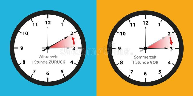 Cronometre o interruptor às horas de verão e ao grupo do tempo de inverno ilustração do vetor