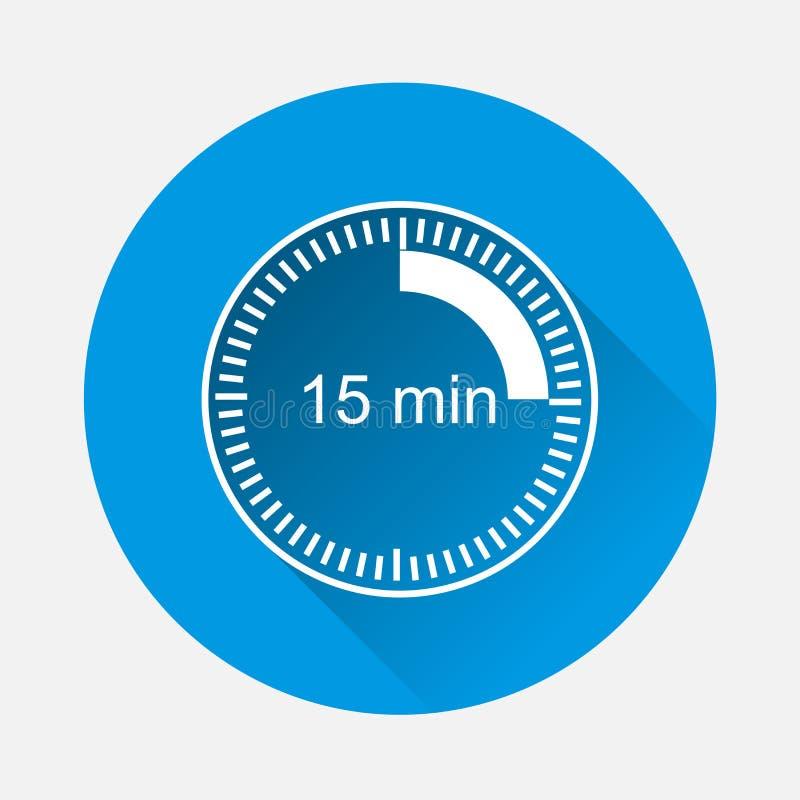 Cronometri l'icona che indica l'intervallo di tempo di 15 minuti sulle sedere blu illustrazione di stock