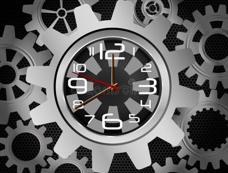 Cronometri nella forma dell'ingranaggio su fondo nero royalty illustrazione gratis