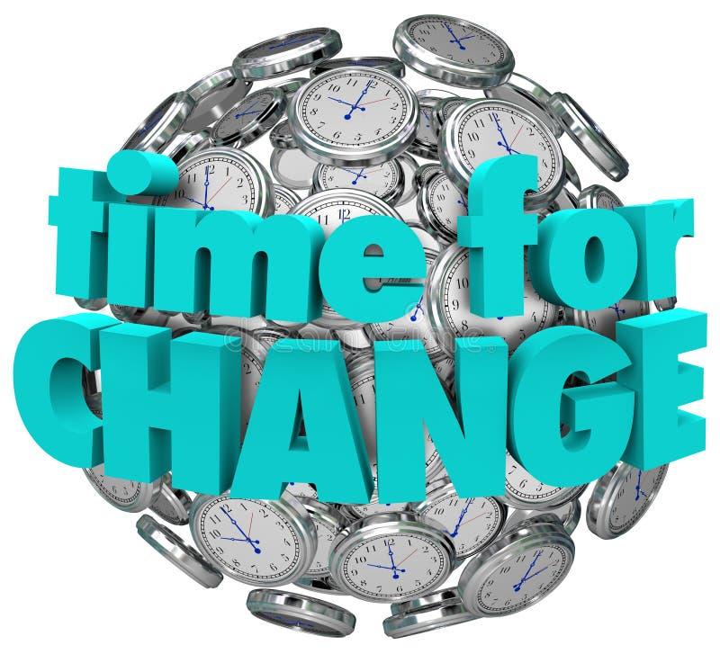 Cronometri per miglioramento innovatore della sfera della palla degli orologi del cambiamento royalty illustrazione gratis