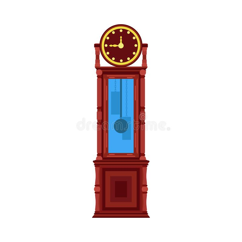 Cronometri retro del pavimento dell'illustrazione vecchio della mobilia antica di vettore interno d'annata della stanza royalty illustrazione gratis