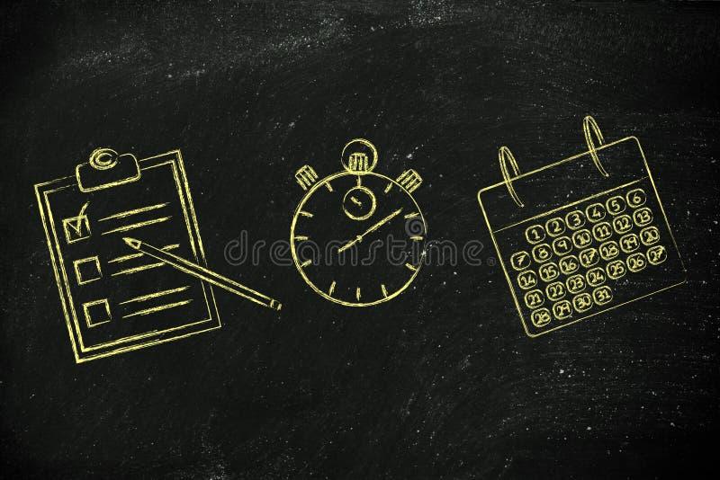 Cronometro, calendario e fare lista per programmare ed organizzare il vostro fotografie stock libere da diritti