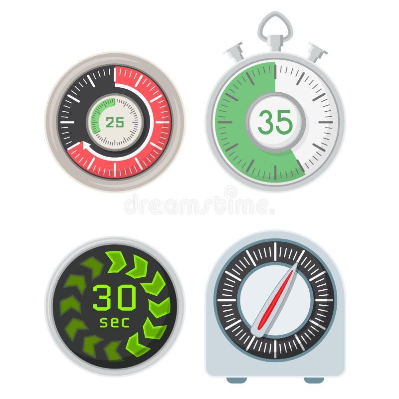 Cronometro dell'allarme di progettazione di minuto del segno di tempo dell'illustrazione di ora di simbolo di conto alla rovescia illustrazione vettoriale
