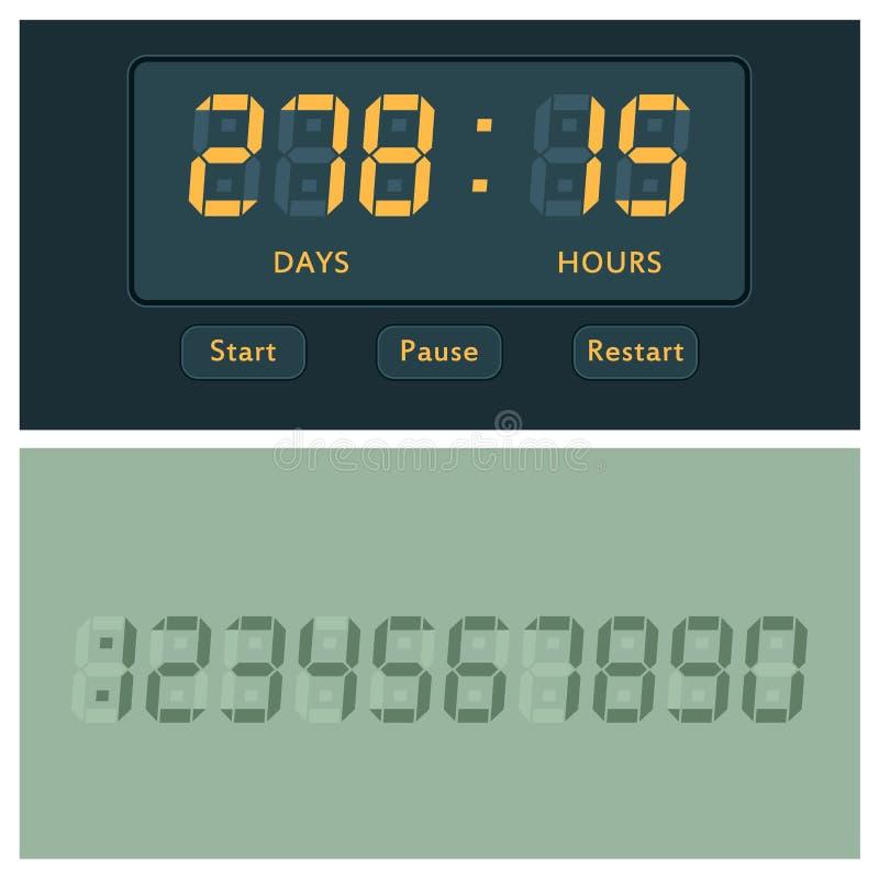 Cronometro dell'allarme di progettazione di minuto del segno di tempo dell'illustrazione di ora di simbolo di conto alla rovescia illustrazione di stock