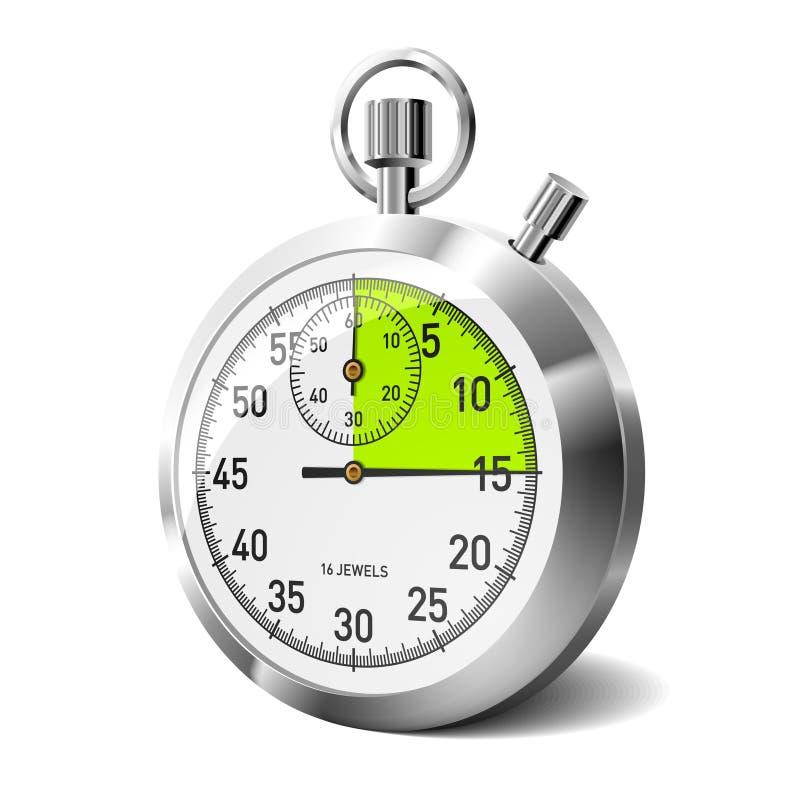 Cronometro meccanico con il segmento verde. Vettore. royalty illustrazione gratis