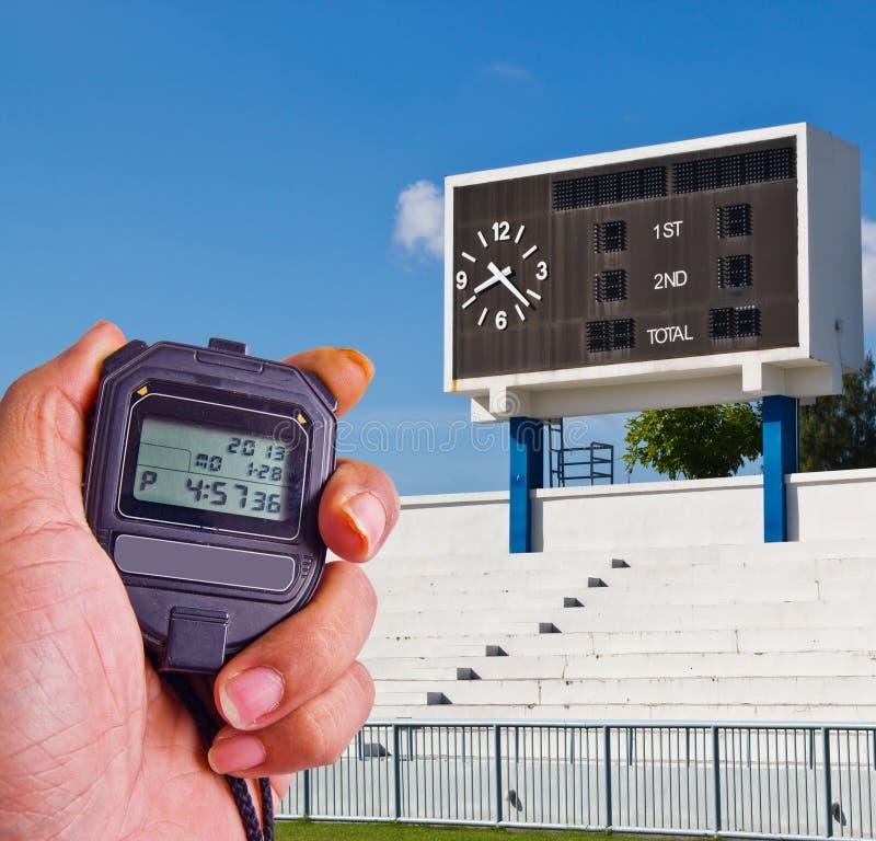 Cronometro nel campo di atletica immagini stock libere da diritti