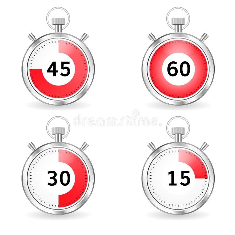 Cronometro realistico con il quadrante e la barra rossi di secondi Insieme dei temporizzatori royalty illustrazione gratis