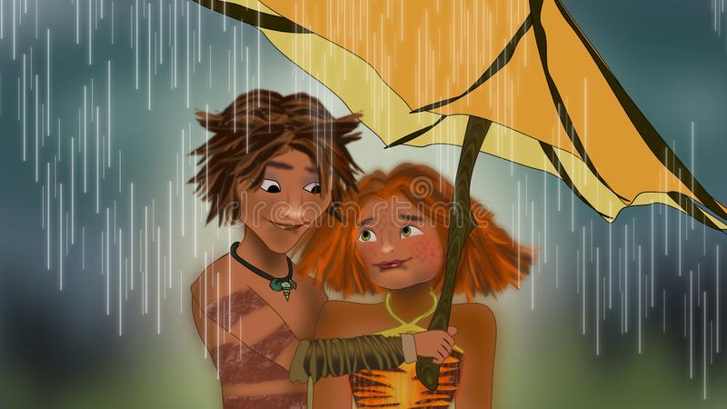 The croods under the rain scene. Illustrations