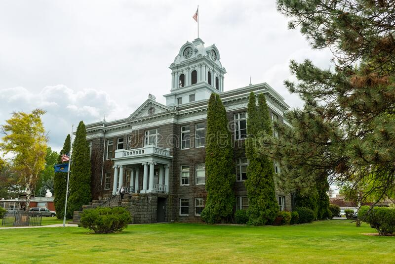 The Crook County Courthouse in Prineville, Oregon, USA. Prineville, Oregon - May 15, 2015: The Crook County Courthouse royalty free stock image