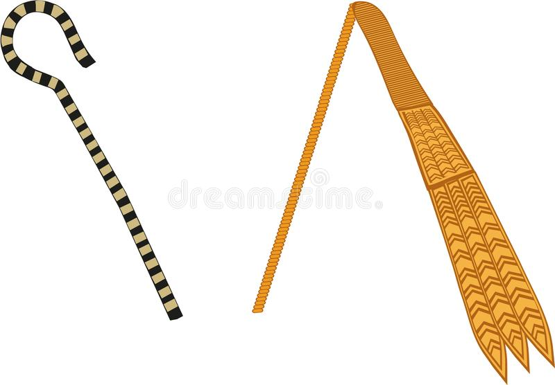 Ancient Egyptian Crook & Flail. Crook and Flail. Shepherd`s crook stood for kingship, flail stood for fertility of land. Insignia of the God Osiris and symbols royalty free illustration