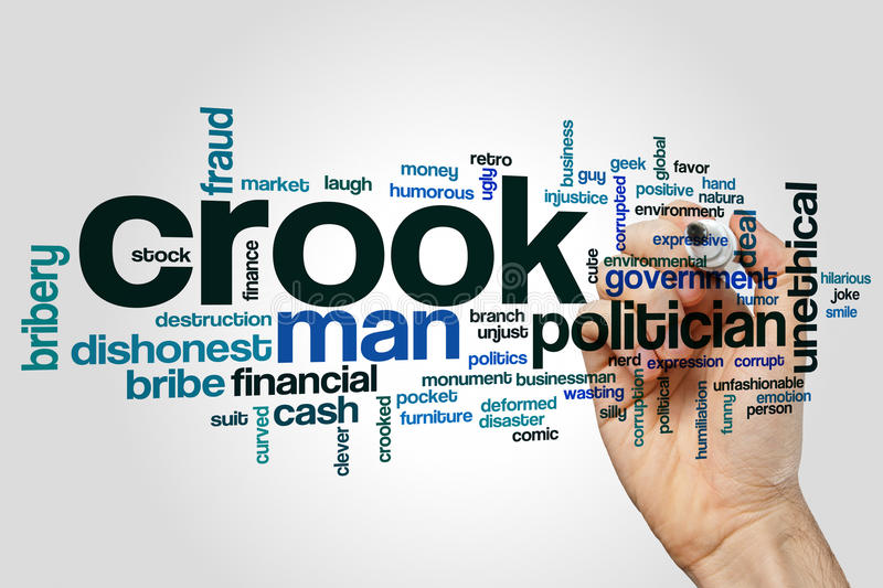 Crook word cloud. Concept on grey background royalty free stock photo