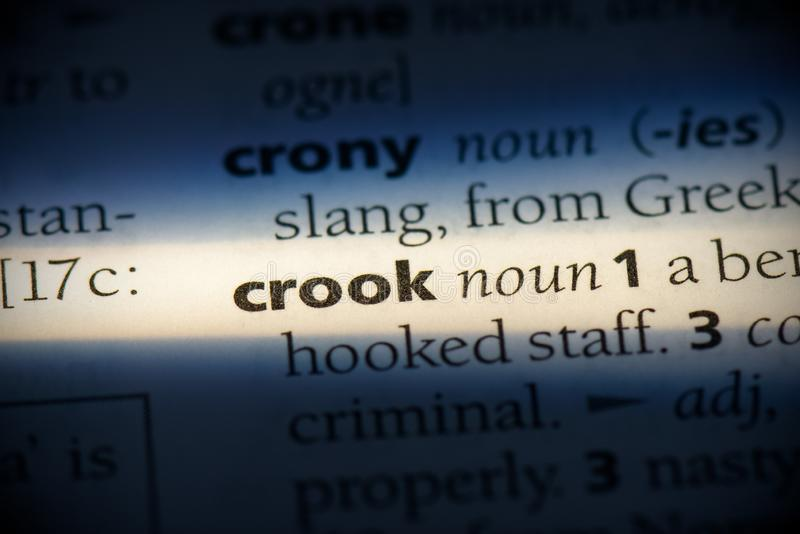 Crook. Word in a dictionary.  concept, definition royalty free stock image