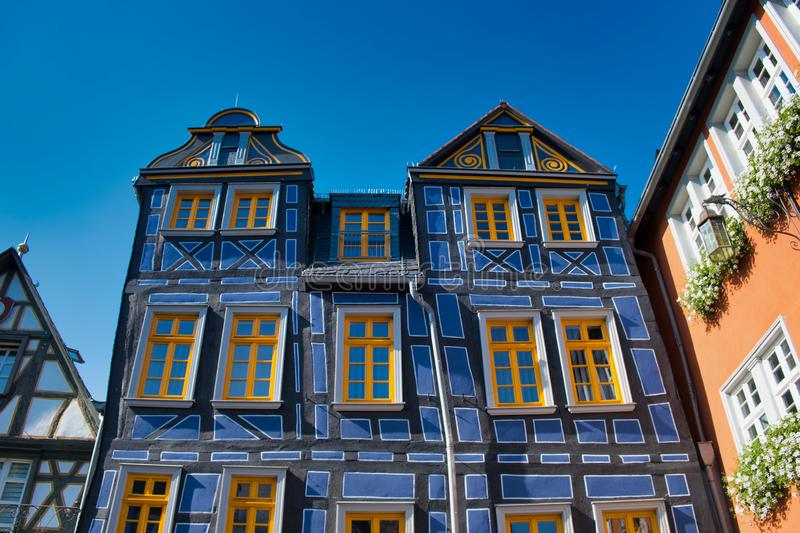 Crooked blue half-timbered house in Idstein, Hesse, Germany. Crooked house beside the town hall in the old town Idstein, Hesse, Germany royalty free stock photography