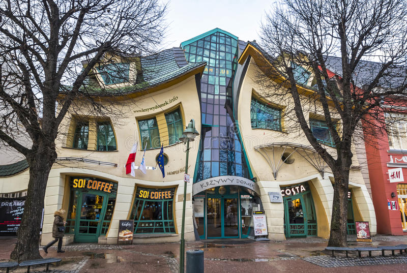 Crooked little house Krzywy Domek in Sopot, Poland stock photography