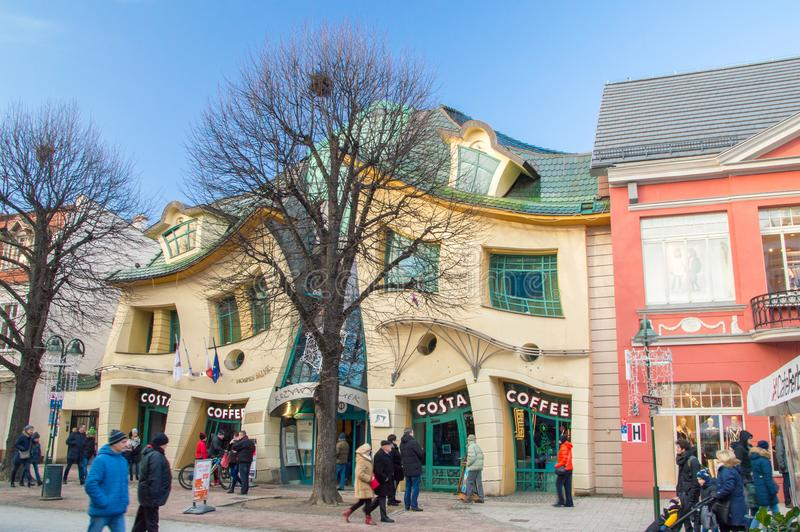 Crooked little house Polish: Krzywy Domek in Sopot. stock image