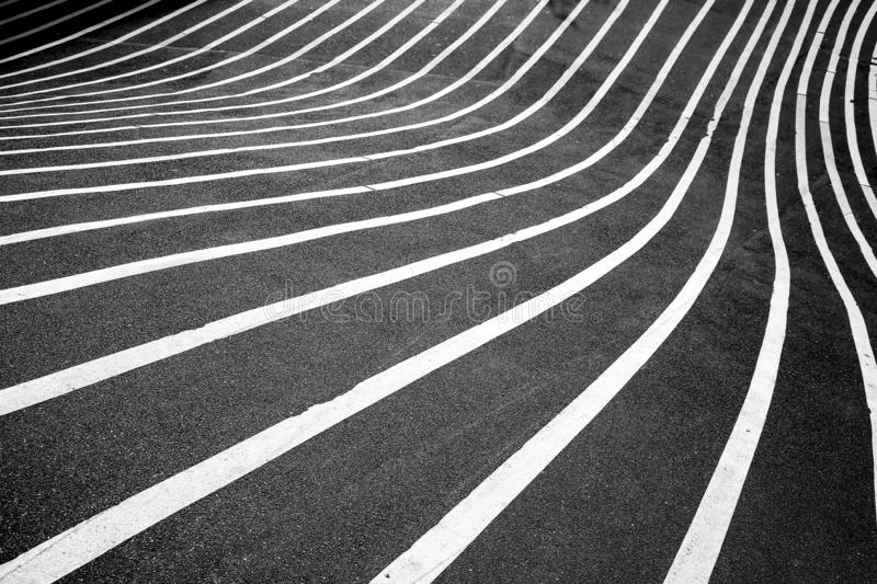 Crooked Road Lines in the city. A city street with Crooked Road lines creates a fun geometric pattern stock photo