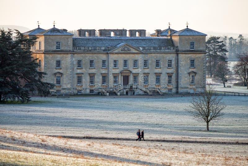 Croome domstol, Worcestershire, på en solig frostig morgon i Januari arkivbild