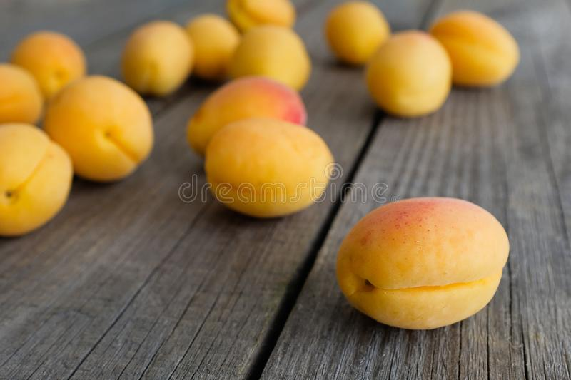 The crop of apricots on a dark wood background. Proper healthy diet. Vegetarianism, veganism, raw food diet. Selective focus.  royalty free stock photography