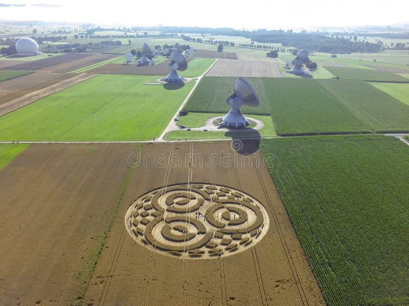 Crop Circle in cornfield near Rasiting. Crop circle in a cornfield at Rasiting, Upper Bavaria, Bavaria, Germany, Europe stock photos