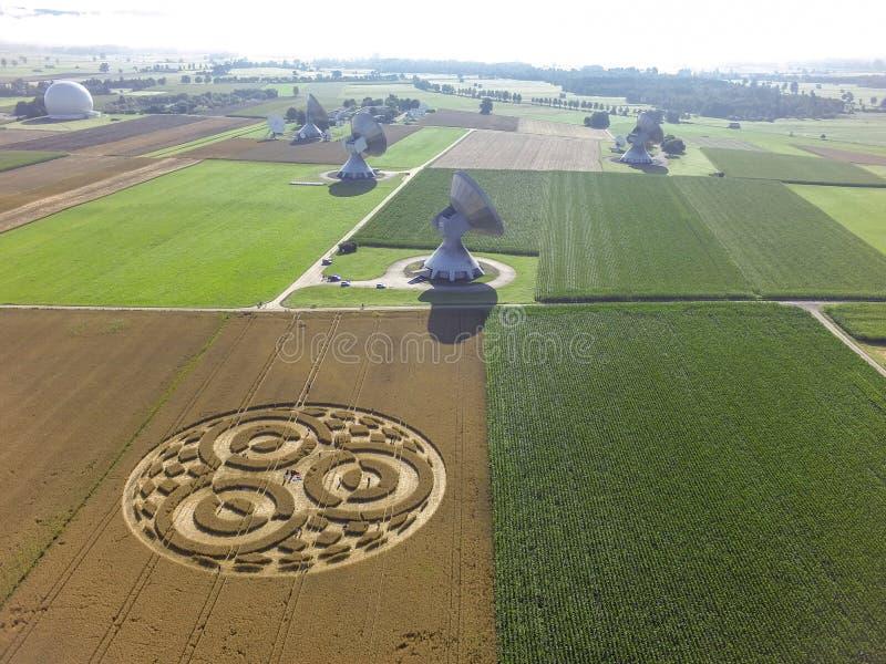 Crop Circle in cornfield near Rasiting. Crop circle in a cornfield at Rasiting, Upper Bavaria, Bavaria, Germany, Europe royalty free stock image