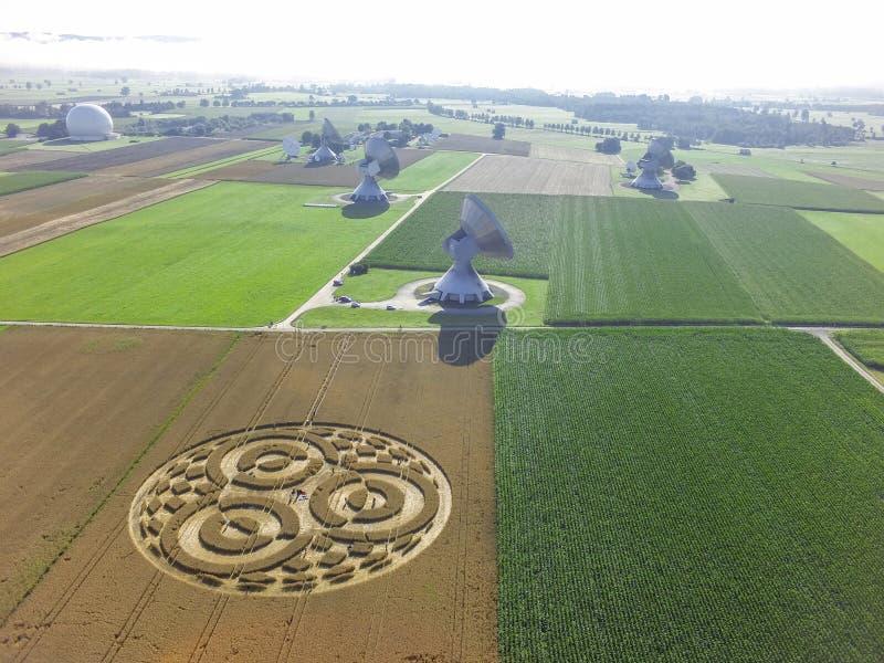 Crop Circle in cornfield near Rasiting. Crop circle in a cornfield at Rasiting, Upper Bavaria, Bavaria, Germany, Europe stock photography