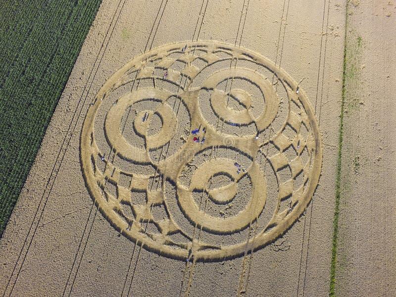 Crop Circle in cornfield near Rasiting. Crop circle in a cornfield at Rasiting, Upper Bavaria, Bavaria, Germany, Europe stock image