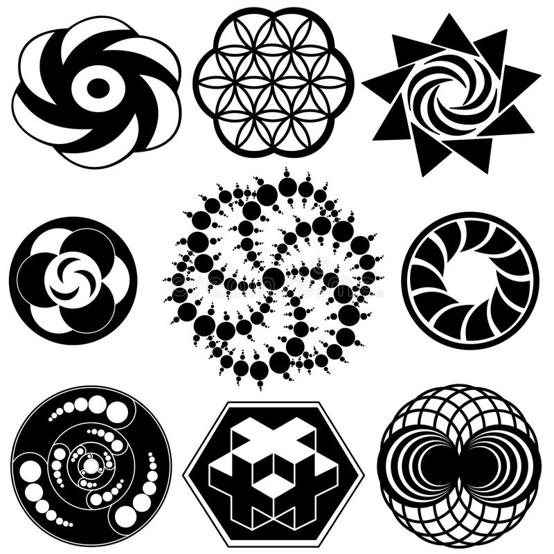 Crop Circle Designs. Symbols and logos. Sacred geometry vector vector illustration