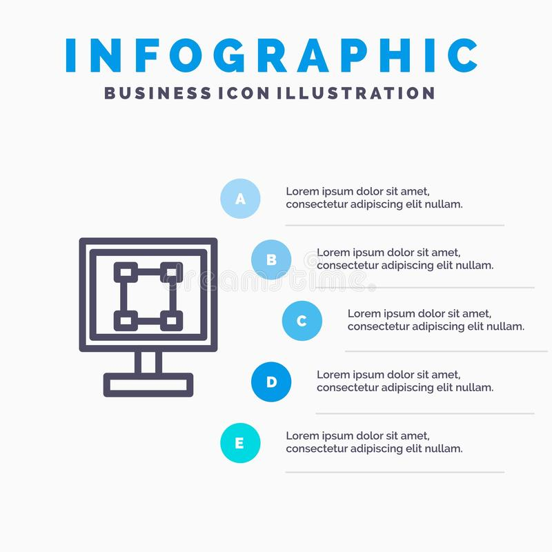 Crop, Graphics, Design, Program, Application Line icon with 5 steps presentation infographics Background stock illustration