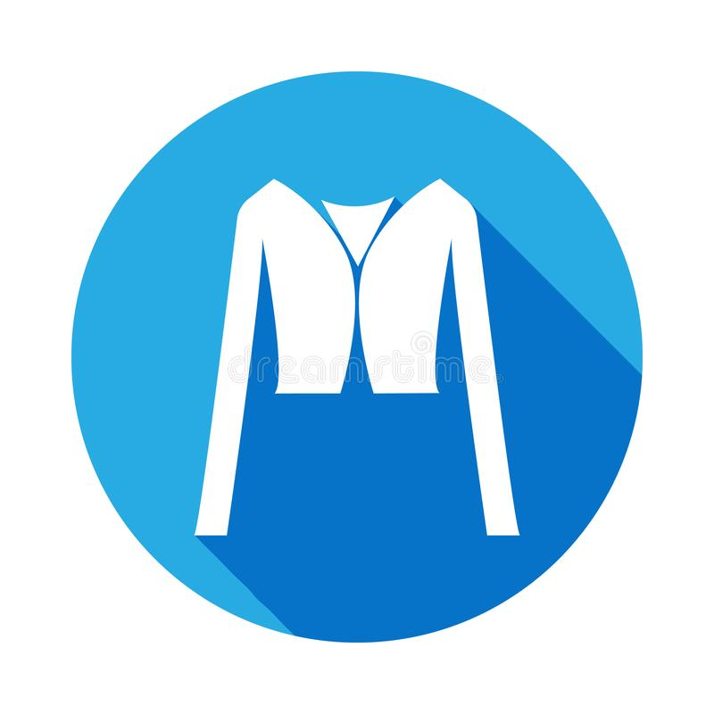 crop Jacket icon with long shadow. Signs and symbols can be used for web, logo, mobile app, UI, UX stock illustration
