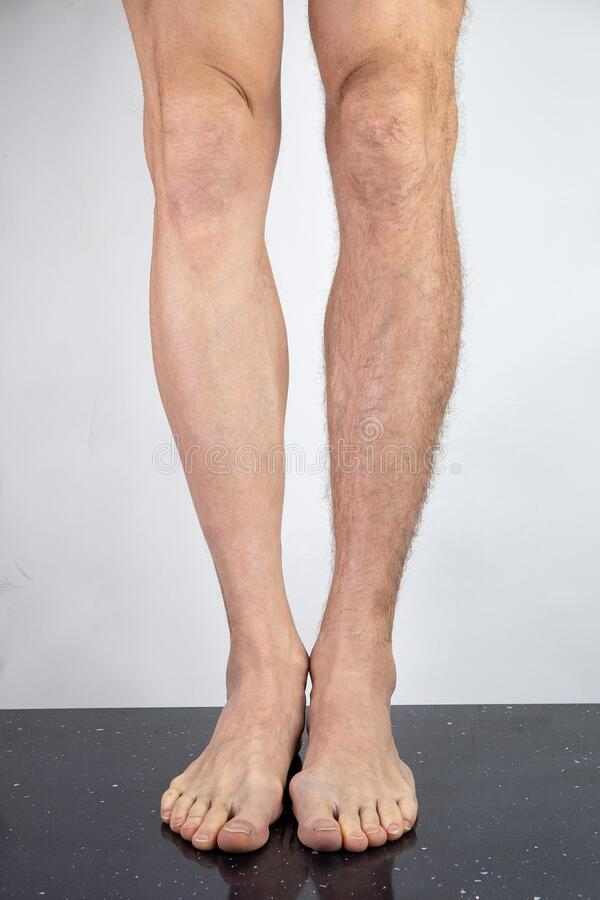 Free Crop Man With Shaved And Hairy Legs Royalty Free Stock Image - 173162286
