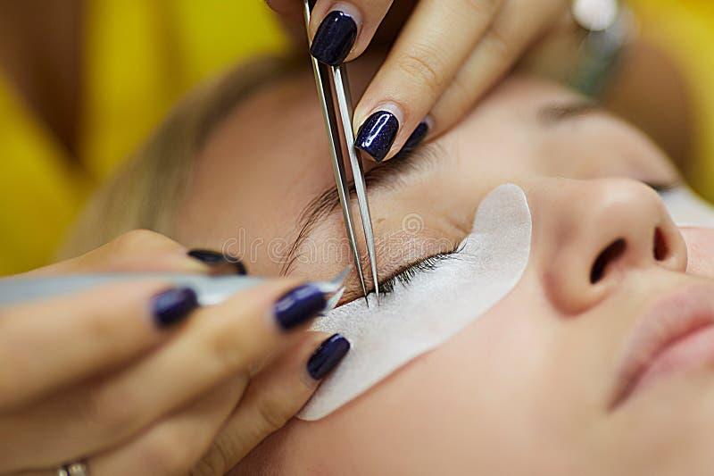 Crop master doing eyelash extension stock photo