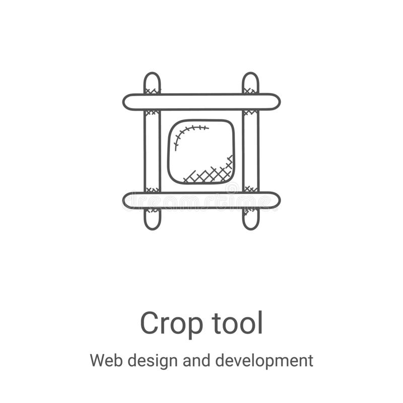 Crop tool icon vector from web design and development collection. Thin line crop tool outline icon vector illustration. Linear. Symbol for use on web and mobile vector illustration