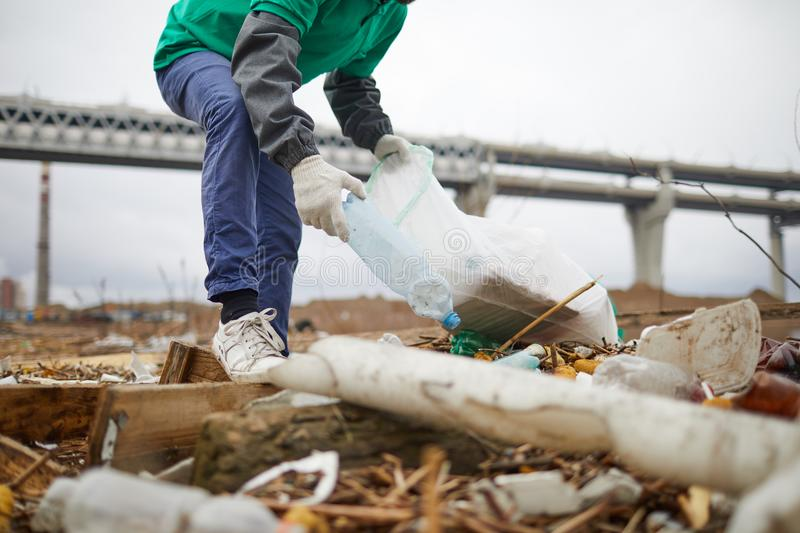 Crop activist cleaning garbage pile. Crop unrecognizable volunteer standing and picking garbage to bag royalty free stock photo