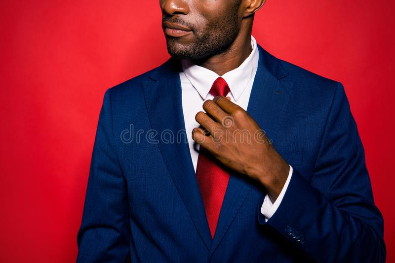 Cropped bearded content calm focused handsome authoritative mula. To rich wealthy man ceo boss chief wearing blue suit fixing tie details isolated over red stock images