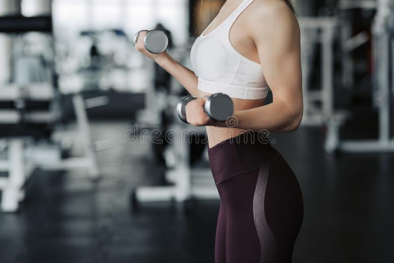 Cropped body close up of young attractive woman in sport clothes holding weight dumbbell doing fitness workout in the gym royalty free stock photo