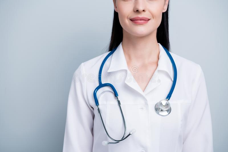 Cropped close up photo beautiful she her lady doctor hospital wide smile cardiologist best service wear phonendoscope stock photos