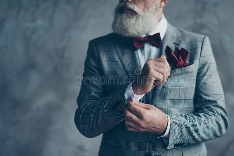 Cropped close up photo of chic virile luxurious trendy wealthy r royalty free stock images