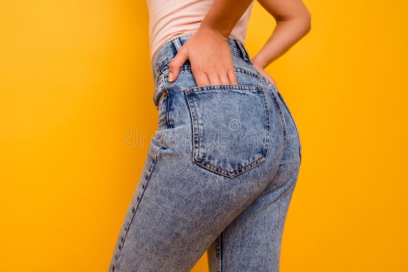 Cropped close up side profile photo beautiful amazing she her lady ideal shape figure butt sunny weather walk park town royalty free stock photo