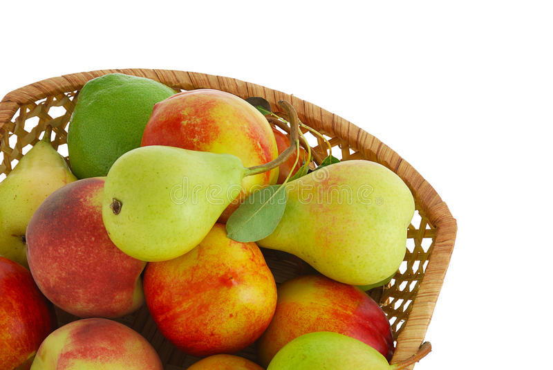 Cropped closeup of decorative basket with fruits stock photo