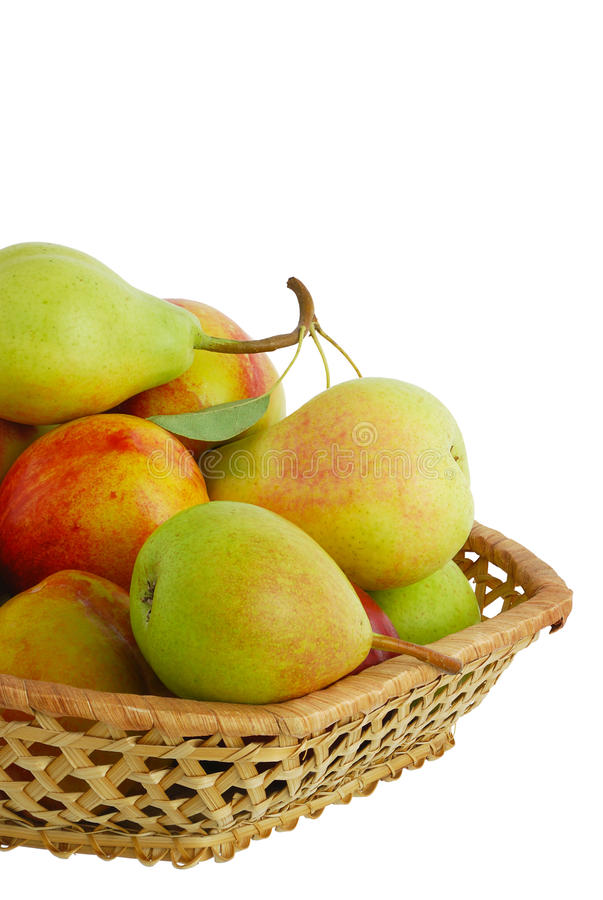 Cropped closeup of fresh fruits in basket stock image
