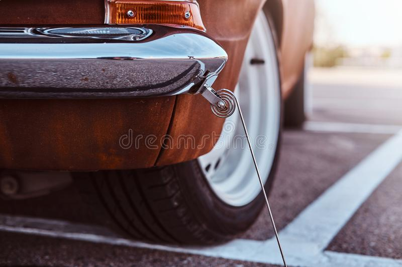Cropped front view of a restored retro car. royalty free stock photo