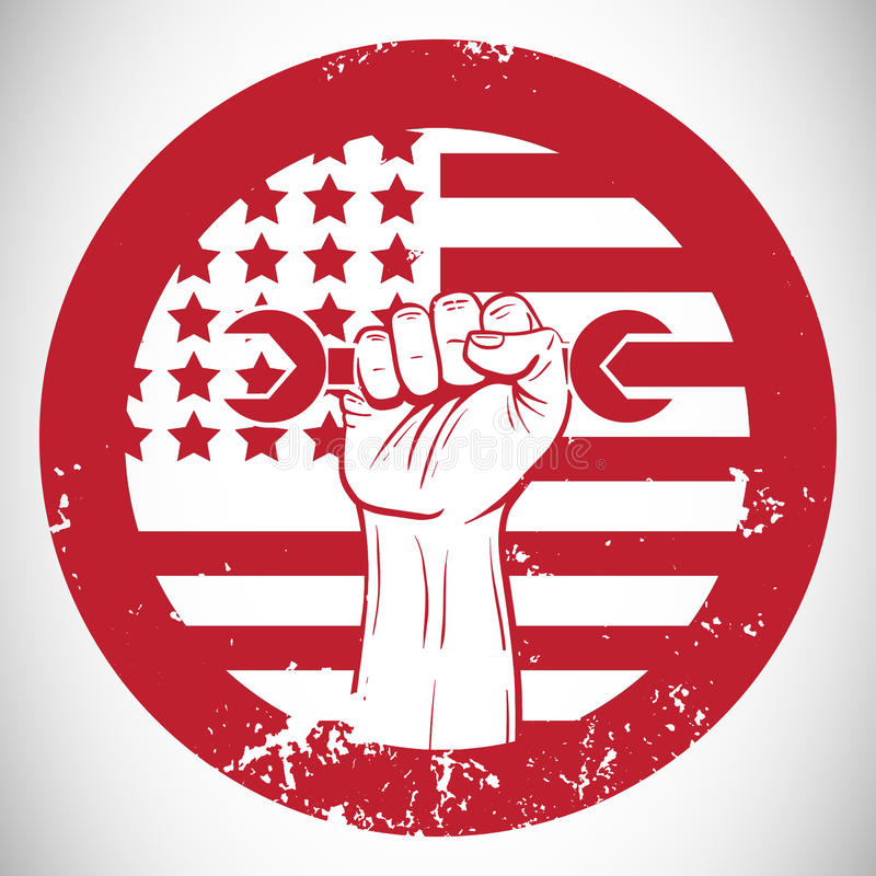 Cropped hand holding tool and american flag on red poster stock illustration