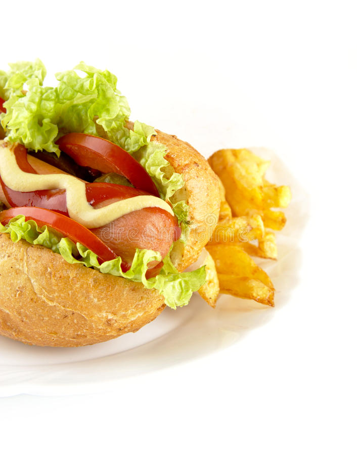 Download Cropped Hot Dog With Ingredients On Plate On White Background Stock Photo - Image: 83712410