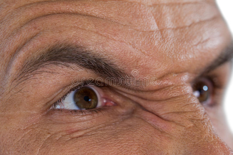 Cropped image of angry mature man looking away stock photos