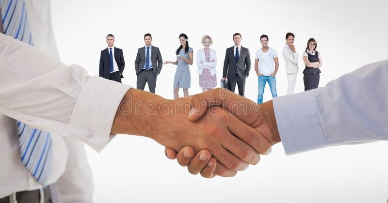 Cropped image of business people doing handshake with employees in background vector illustration