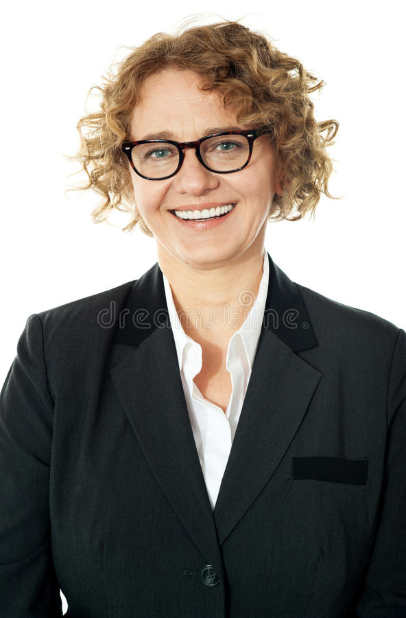 Cropped image of a curly haired business lady royalty free stock image