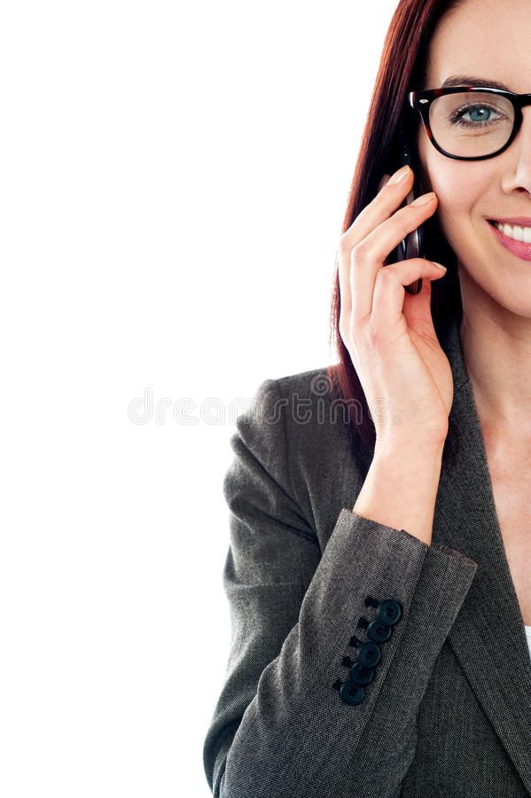Download Cropped Image Of A Lady Using A Mobile Phone Stock Image - Image of formal, attractive: 25160037