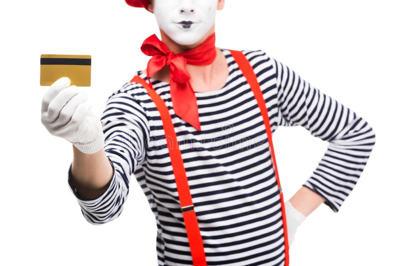 cropped image of mime showing credit card royalty free stock images